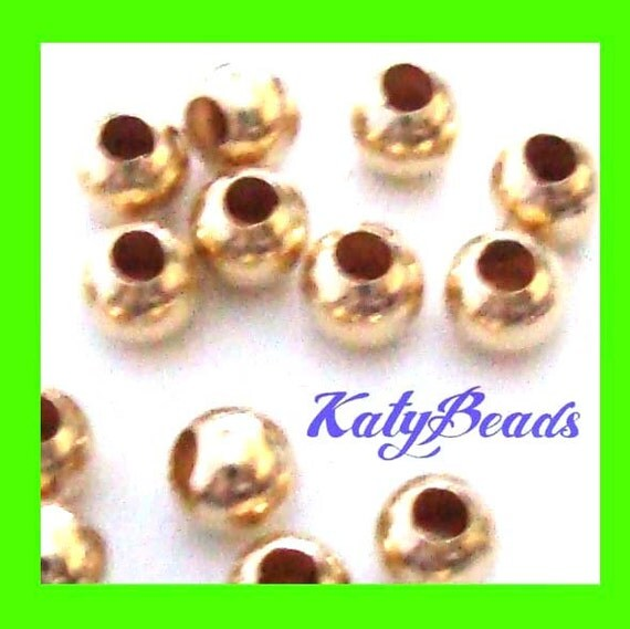 14k yellow gold filled spacer mini seam round bead 2mm 200 pcs GS01
