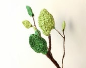 Crochet leaves cozy - spring decorations - woodland ornaments - spring home decor in green - home embellishments - set of 10