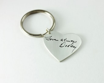 Your Loved Ones Handwriting Memorial Keepsake Heart Shaped Keychain