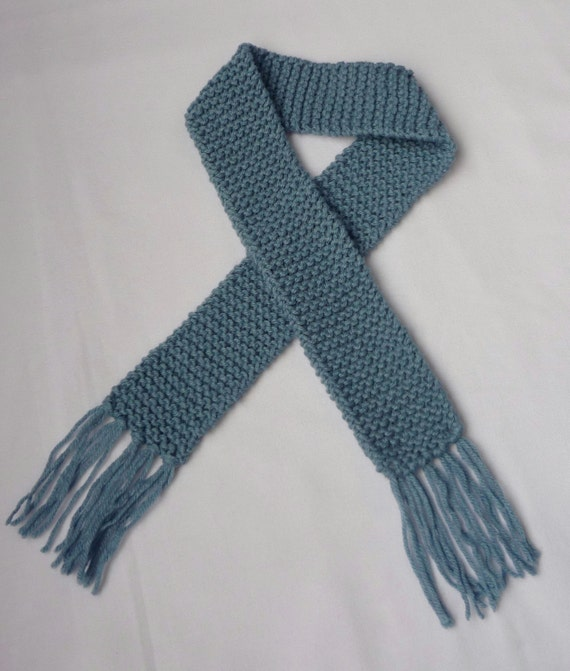 Light Icy Blue Knit Baby Scarf