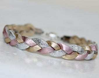 Tri-Color Braided Leather   Bracelet / Metallic Pink ,Gold, Silver