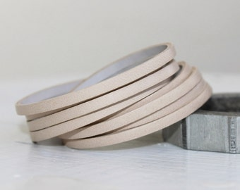 Mini Sliced Beige  Leather  Double Wrap Cuff Bracelet