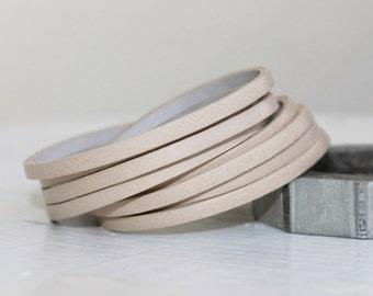 Mini Sliced Beige  Leather  Double Wrap Cuff Bracelet