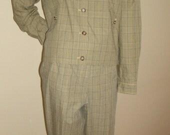 90s Vintage Isaac Mizrahi khaki check country western casual jacket pants suit set M 8