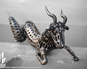 Recycled Metal Capricorn (small item) --- Zodiac Astrology sign sea-goat December January Earth
