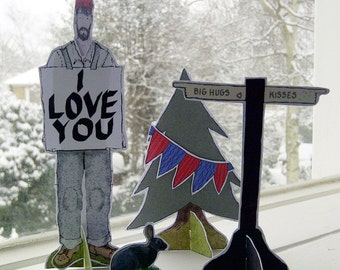 Woodsman 'I Love You' Paper Doll greeting's Card birthday fathers day
