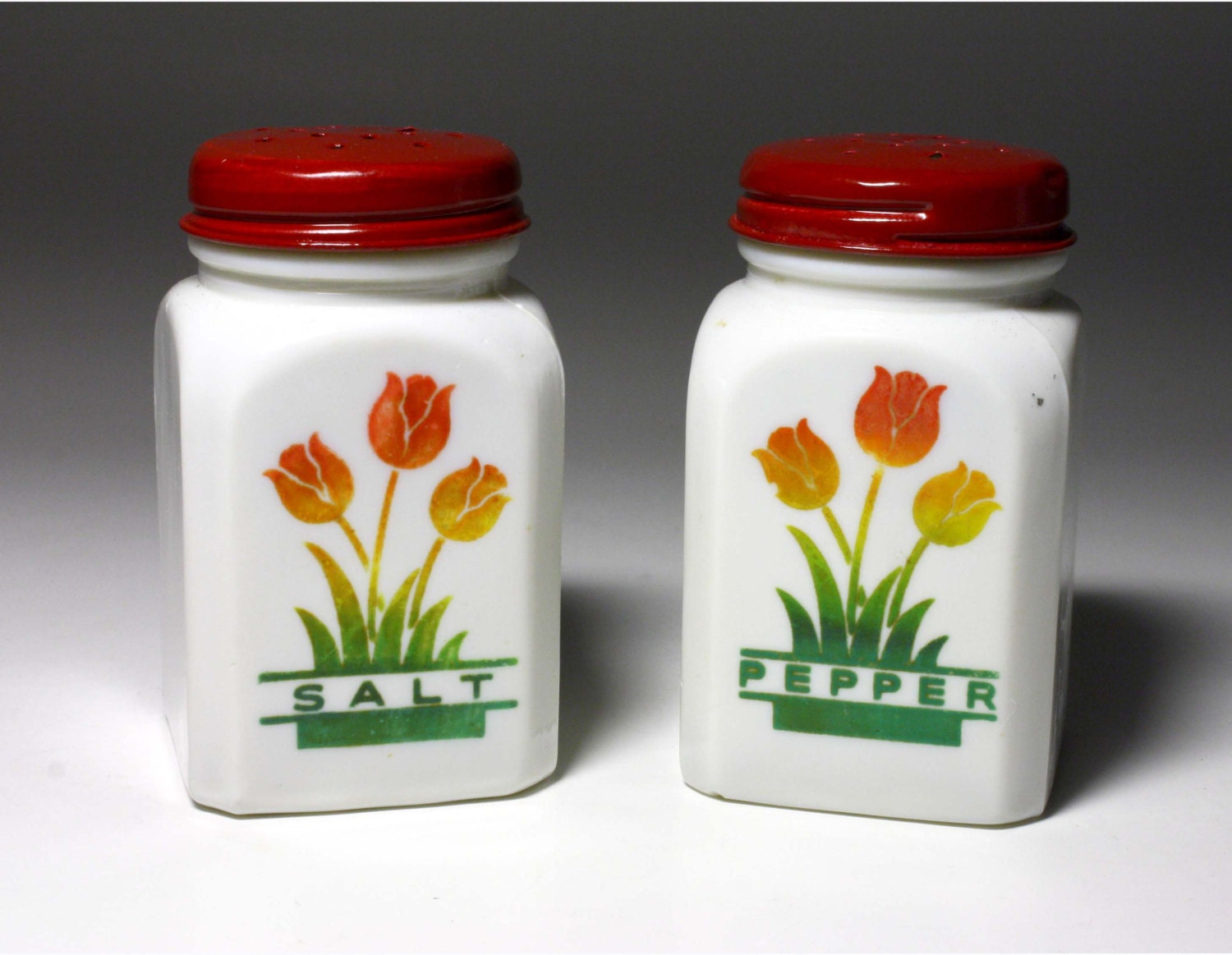 Vintage Tulip Salt And Pepper Shakers By Anchor Hocking