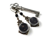 Steampunk Earrings Typewriter Key Earrings Punctuation At Sign Keys on Brass Filigree Setting by Compass Rose Design