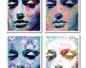 A5 digital montage set, 4 collage portraits, photoshopped, mannequin faces, vintage/retro style, florals, patterns, 'Meditation series'