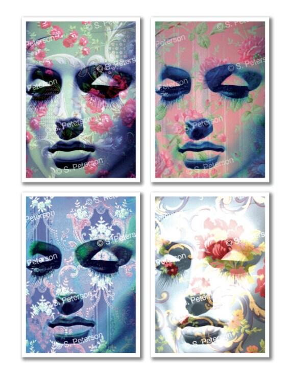 Digital portraits 'Meditation series' 4 digital collages for your home, mannequin faces, vintage/retro style, florals, patterns
