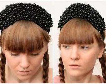 Black beaded headband, russian kokoshnik, tiara, collar, necklace