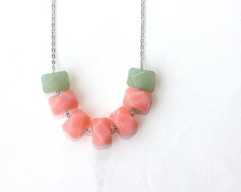 Geometric necklace - color block necklace - rose peach green necklace - geometric faceted jewelry