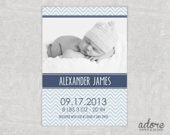 Blue & Grey Chevron Baby Birth Announcement - CHOOSE YOUR COLORS - Printable Digital File.