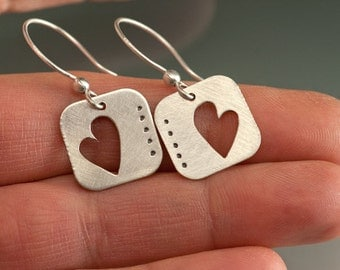Hearts in Silver Earrings, cut out Hearts with French Hook, Valentines Hearts