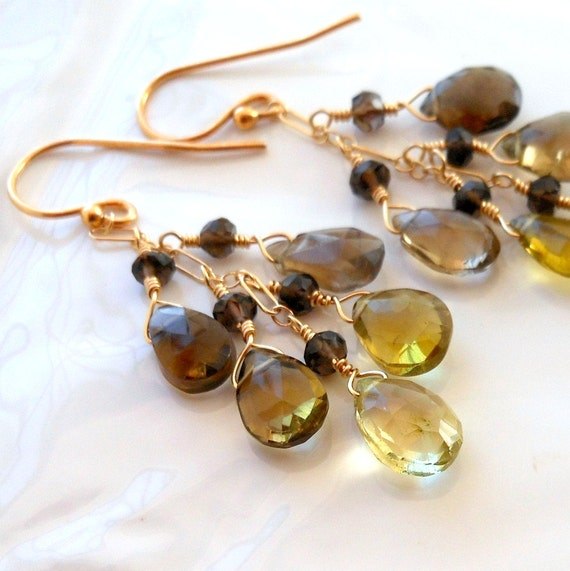 Phantom Lemon and Smoky Quartz Wire Wrapped Chain Earrings Gold Filled