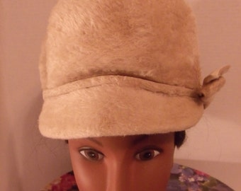 Brush Fur Bib Style Hat / Left Side Bow  By Lori  Carson Pirie Scott & Co.