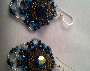 Seed Bead Earrings, Bead Work Earrings, blue, gold, silver, black, gift, festival
