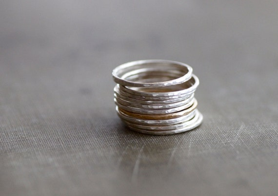 Sterling and Goldfill Hammered Stacking Rings