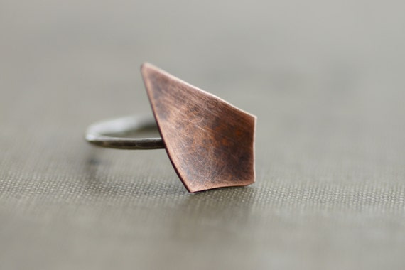 Copper and Sterling Silver Geometrical Ring - Made to Order