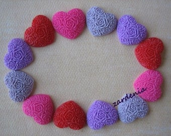 12PCS - Heart Flower Cabochons - Resin - Valentine's Mix 2013 - 19x21mm - Cabochons by ZARDENIA