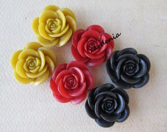 6PCS - Rose Flower Cabochons - 18mm - Mixed Colors - Yellow, Red and Brown