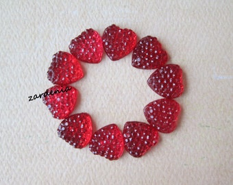 10PCS - Red - Heart Rhinestone Cabochons - 10mm - Sparkly