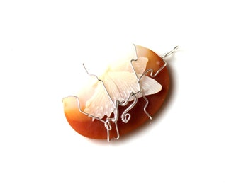 wire wrapped cameo pendant. sterling butterfly cameo charm. FREE domestic SHIPPING. ivory white peach ornament