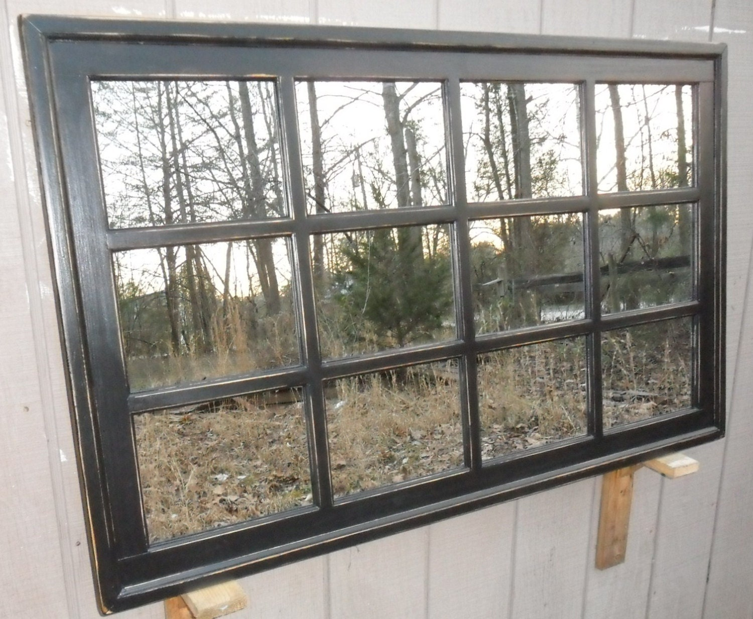 Distressed framed mirror window mirror window pane window Window pane mirror