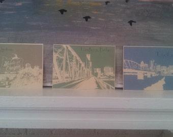 8X10 Set of Three Portland Themed Retro Prints