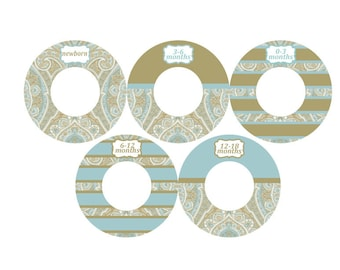 blue and tan Paisley closet dividers