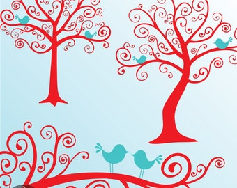 Whimsical Tree Clip Art - The Dreamy Tree in Red and Turquoise