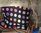 Crochet Pattern Vintage Style Retro Floral Granny Squares Crochet Blanket PDF