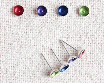 Tiny Sterling Silver Stud Earrings Colorful Post Earrings Small Domes You Chose Color Minimalist Earrings everyday jewelry w/ sterling clip