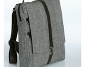 "Grey Cotton 15"" Laptop backpack  - Vegan Laptop Backpack - Roxanna Laptop Bag"