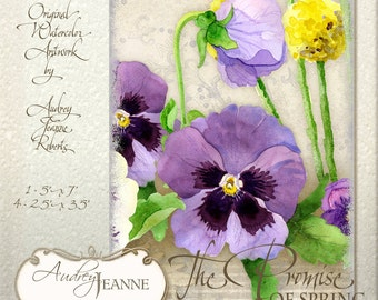 Pansy Daffodil Digital Collage Sheet, Floral Art Spring  Atc Tags AJR-B005-O 5 x 7 card purple pansy pansies daffodil dragonfly flower