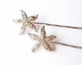 Rhinestone Starfish Bobby Pins Silver Crystal Bridal Hair Clips Bride Bridesmaid Nautical Mermaid Destination Beach Wedding Accessories