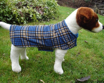 Blue Black and Tan Corduroy Plaid Coat- Size Small- 12 to 14 Inch Back Length - Or Custom Size
