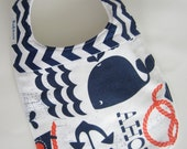 Baby Bibs - Nautical Bib / Navy Chevron Bib / Designer Baby / JULY 4TH - Babiease