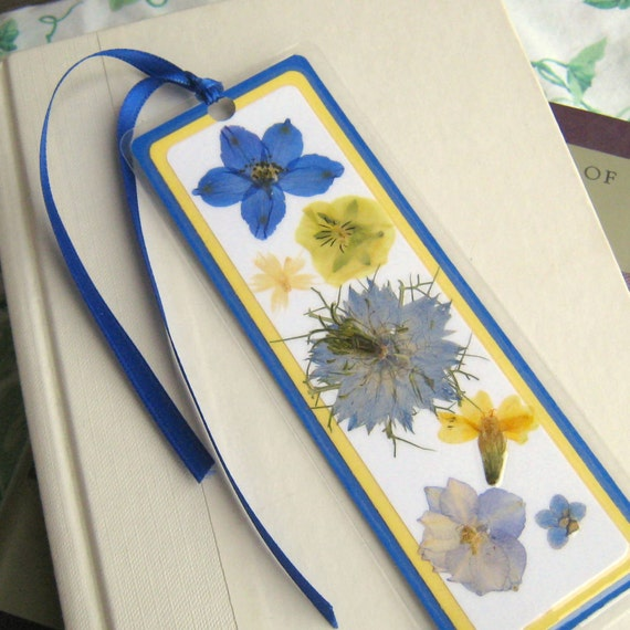 Pressed Flower Yellow and Blue Flowers Collage Style Laminated Bookmark