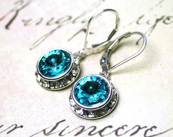 Aqua Blue Crystal Earrings - Light Turqoise Blue Swarovski Crystal Halo Earrings - Swarovski Crystal and Sterling Silver Leverbacks