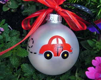 VW Beetle - Red Car - Personalized Christmas Ornament - Volkswagen Auto - Hand Painted Glass Ball, New Driver, Drivers License, First Car