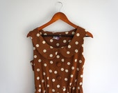 vintage peter pan collar light brown and white polka dot dress // 1950s style party dress // size large
