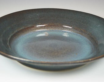 Large Ceramic Platter in Blue and Brown with Textured Rim, Serving Tray, Serving Platter