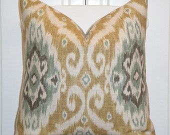 IKAT -Decorative Pillow Cover - 22x22, 20x20, 18x18 - Throw Pillow - Accent Pillow - Green - Grey - Camel Brown