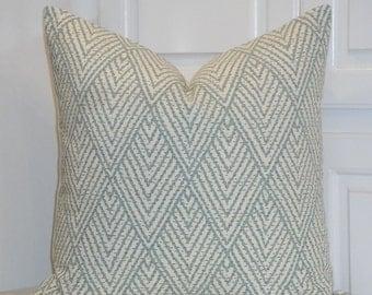 DOUBLE SIDED - Decorative Pillow Cover - Tahitian Stitch in Aqua - Brown - Sofa Pillow - Trellis Pillow - Lattice - Geometric