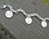 Super Thick Sterling Charm Bracelet - 11 Font Choices
