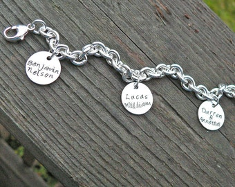 Super Thick Sterling Charm Bracelet - 11 Font Choices