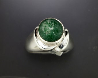 Sterling Silver Ring with 12mm Aventurine Cabochon