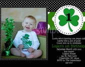 St. Patrick's Day Birthday Invitation with Photo - St Patricks Day 1st Birthday Invitation for Boy or Girl - Printable or Printed