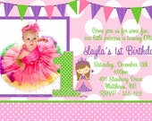 Princess Birthday Invitation - Printable or Printed - Princess 1st Birthday Invitation - ANY AGE Available - Pink Green Purple Polka Dots